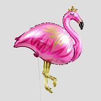 """Шар фольгированный 32"""" «Фламинго с короной», фигура, цвет розовый"""