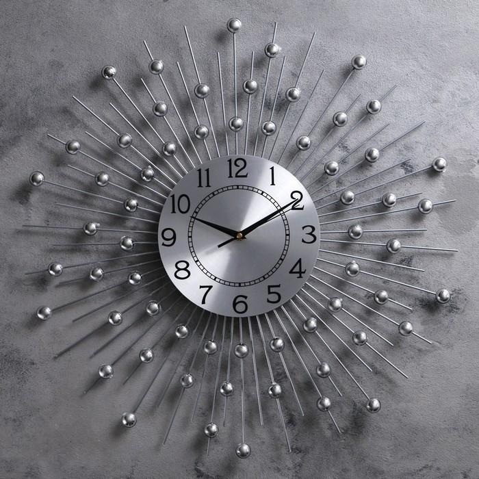 """Часы настенные, серия: Ажур, """"Сферы"""", хром, d=60 см"""