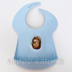Нагрудник детский, с карманом, пластиковый, цвет голубой, МИКС
