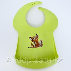 Нагрудник детский, с карманом, пластиковый, цвет голубой, МИКС Зелёный
