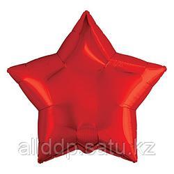 """Шар фольгированный 19"""", звезда, цвет красный"""