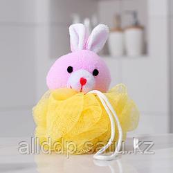 Мочалка детская с мягкой игрушкой «Зверята», 20 г, игрушка и цвет МИКС