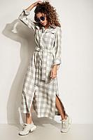 Женское летнее хлопковое серое большого размера платье Сч@стье 7220 42р.