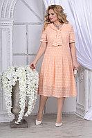Женское летнее шифоновое оранжевое большого размера платье Ninele 2295 персик 52р.