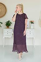 Женское летнее шифоновое большого размера платье ASV 2414 красный, синий 56р.