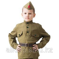 """Костюм военного """"Солдат"""", гимнастёрка, ремень, пилотка, 3-5 лет, рост 104-116 см"""