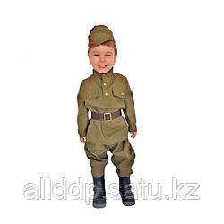 Карнавальный костюм «Солдат-малютка», пилотка, гимнастёрка, ремень, галифе, 1-2 года, рост 82-92 см