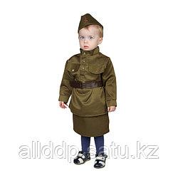 Карнавальный костюм «Солдаточка-малютка», пилотка, гимнастёрка, ремень, юбка, 1-2 года, рост 82-92 с ...