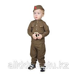 Костюм военного для мальчика: гимнастёрка, галифе, пилотка, трикотаж, хлопок 100%, рост 92 см, 1,5-3 ...