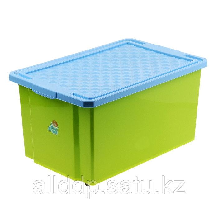 Ящик для игрушек с крышкой «Лего», 57 л, на колёсиках, цвет фисташковый - фото 3