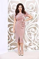 Женское летнее трикотажное розовое нарядное большого размера платье Mira Fashion 4946 50р.