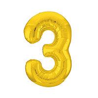 """Шар фольгированный 40"""" «Цифра 3», цвет золотой, Slim"""