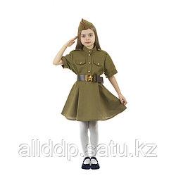 Карнавальный костюм военного: платье с коротким рукавом, пилотка, р-р 38, рост 146-152 см