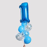 Фонтан из шаров «1 годик», для мальчика, с конфетти, латекс, фольга, 8 шт.