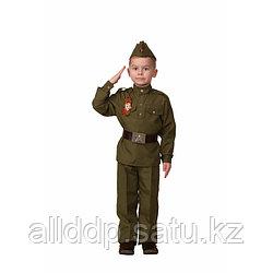 Карнавальный костюм «Солдат», сорочка, брюки, головной убор, брошь, р. 40, рост 158 см