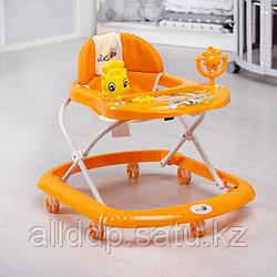 Ходунки «Солнышко С», 7 колес, муз. игрушки, колеса силикон, светло-бежевый Оранжевый