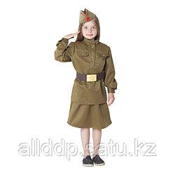 Костюм военный для девочки: гимнастёрка, юбка, ремень, пилотка, рост 152 см, р-р 40