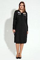 Женское летнее трикотажное серое большого размера платье Панда 10580z графит 50р.