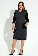 Женское осеннее трикотажное серое нарядное большого размера платье Панда 14380z темно-серый 50р.