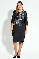 Женское осеннее трикотажное серое большого размера платье Панда 15080z темно-серый 48р.