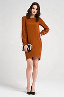 Женское осеннее коричневое нарядное платье Панда 18980z горчичный 42р.