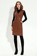 Женский осенний кожаный коричневый сарафан Панда 19180z коричневый 44р.