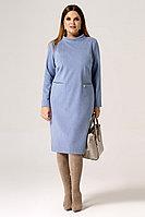 Женское осеннее трикотажное голубое нарядное большого размера платье Панда 21080z голубой 48р.