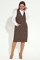 Женский осенний коричневый большого размера сарафан Панда 21480z коричневый 50р.