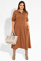 Женское осеннее из вискозы коричневое нарядное большого размера платье Панда 21580z горчичный 50р.