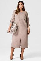 Женское осеннее трикотажное бежевое нарядное большого размера платье Панда 21780z бежевый 48р.