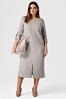 Женское осеннее трикотажное серое нарядное большого размера платье Панда 21780z серый 48р.