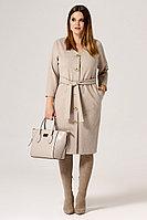 Женское осеннее трикотажное бежевое нарядное платье Панда 21880z бежевый 44р.