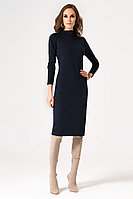 Женское осеннее трикотажное синее нарядное платье Панда 22780z темно-синий 42р.