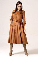 Женское осеннее из вискозы коричневое нарядное платье Панда 23480z горчичный 42р.