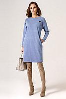 Женское осеннее трикотажное голубое нарядное платье Панда 24480z голубой 42р.