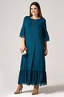 Женское осеннее бирюзовое нарядное большого размера платье Панда 26380z зеленый 54р.