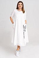 Женское летнее хлопковое белое большого размера платье Панда 30280z белый 50р.