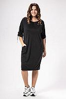 Женское осеннее серое нарядное большого размера платье Панда 471880p графит 48р.