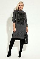 Женское осеннее трикотажное серое нарядное большого размера платье Панда 6280z серый 48р.