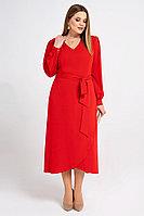 Женское осеннее красное нарядное большого размера платье Панда 8281z красный 56р.