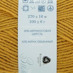 Пряжа 'Перспективная' 50 мериносовая шерсть, 50 акрил объёмный 270м/100гр (447-Горчица) - фото 3