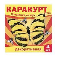 Приманка декоративная от мух 'КАРАКУРТ СУПЕР', пакет, 4 наклейки (бабочка черно-желтая)