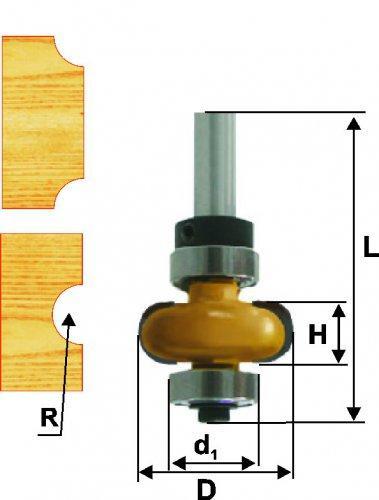 Фреза кром галтельная ф25,4х10мм R4,8мм хв 8мм