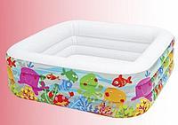 """Детский надувной бассейн квадратный """"Аквариум"""" 159х159х50 см"""