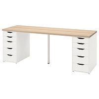 Стол ЛАГКАПТЕН /АЛЕКС беленый дуб/белый 200x60 см ИКЕА, IKEA