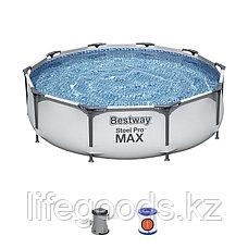 Каркасный бассейн круглый 305х76 см с фильтр-насосом, Bestway 56408, фото 2