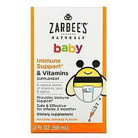 Детские витаминами для укрепления иммунитета, с натуральным апельсиновым вкусом, 59 мл Zarbee's