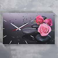 """Часы-картина настенные, серия: Цветы, """"Розы на серых камнях"""", 61х37 см, микс"""