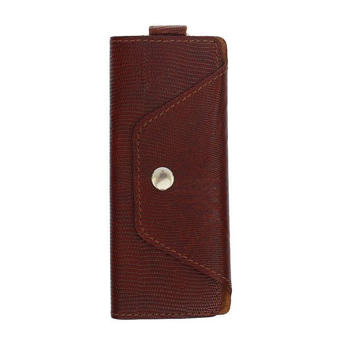 Ключница на кнопке, 6 карабинов, цвет коричневый