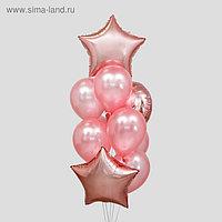 Букет из шаров «Розовое золото», сердце, звезда, фольга, латекс набор 10 шт.